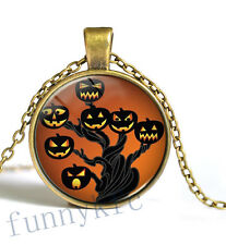 Vintage Halloween series Cabochon Bronze Glass Chain Pendant Necklace ty4,