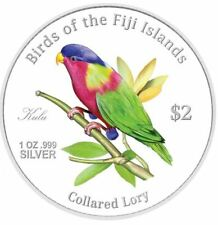 New Birds Of Fiji Fine Silver Proof .999 2007 Zealand Mint Coin 2$ Collared Lory