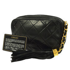 Auth CHANEL CC Fringe Quilted Pouch Clutch Bag Black Leather VTG GHW JT05021