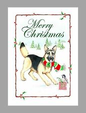 German Shepherd Dog Christmas Cards, Box of 16 Cards & 16 Envelopes