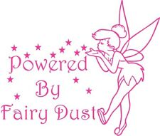tinkerbell powered by fairy dust girls pink vinyl car sticker wall art laptop vw