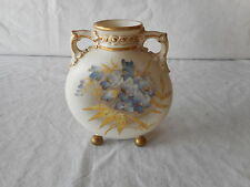 Royal Worcester Yellow Blue Flower Footed PILGRIM FLASK 553 Circa 1881