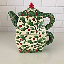 VTG Pacific Rim Holly Berry Tea Pot Cup Hand Painted Ceramic Christmas Berries