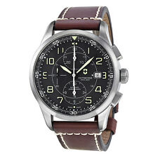Victorinox AirBoss Chronograph Mechanical Black Dial Brown Leather Mens 241597
