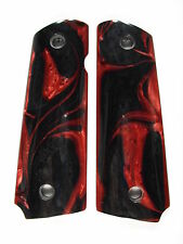 Red & Black Pearl COMPACT 1911 Grips Colt Kimber Sig Taurus Springfield