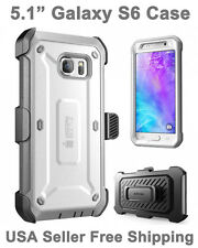 Genuine SUPCASE Galaxy S6 Full Body Rugged Holster Case & Screen Protector Gray