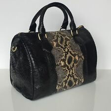 Premium PYTHON Boston SPEEDY 30 stile Leather Tote Bag Handbag in Nero Multi