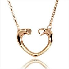 Love Heart Necklace 18K Rose Gold Plated Pendent Cute New
