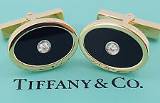 Estate Tiffany & Co 18K Yellow Gold Black Onyx & Round Diamonds Cufflinks 14 Gr