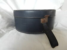 VINTAGE BLUE LEATHER LADIES HAT BOX / TRAVELLING CASE