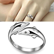 New Silver-Plated Double Dolphin Rings Charm Opening Adjustable Finger Ring new