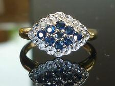 Stunning 9ct gold Vivid blue Sapphire diamond ring J8