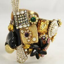 VINTAGE Jewelry HAUTE COUTURE OOAK ARTISAN STATEMENT JEWELED CUFF BRACELET BEACH