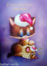 GIANT SIZE Happy Christmas Girlfriend Vintage 1970's Greeting Card ~ Santa Cat