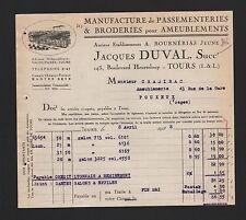Tours, facture 1928, Jacques Duval Manufacture de passementeries & broderies
