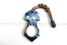 Titanium Blue Ti Skull Cross Skeleton Pendant Self Defense EDC Survival Tool