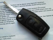 FORD FOCUS ST, GALAXY,S MAX MONDEO ETC 3 BUTTON REMOTE ALARM UNCUT FLIP KEY FOB