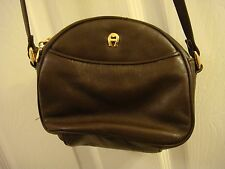 ETIENNE AIGNER Vintage Dark Brown Leather Cute Small Crossbody Purse Bag