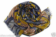 Tory Burch Silk Linen Blended Scarf with Eyelash Trim -  Multi Color