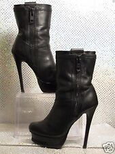 CALVIN KLEIN BLACK LEATHER STILETTO ZIP ANKLE PLATFORM BIKER BOOTIES SZ 5.5