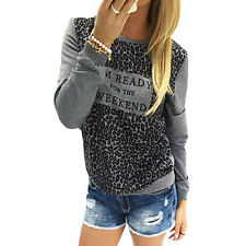 Womens Loose Long Sleeve Cotton Casual Blouse Shirt Tops Fashion T-shirt New