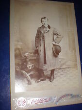 Old Cabinet photograph man hat by Sharp Westminster Bridge London c1900s 517(7)