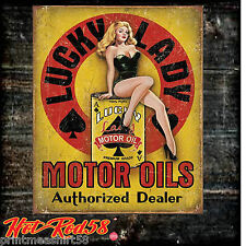 American Hot Rod Lucky Lady Garage Vintage Advertising Metal Tin Wall Signs UK