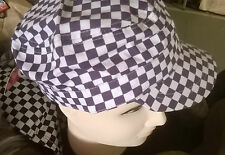 NEW Purple square checked military cap hat 100% cotton mens womens fashion