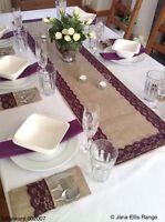 150cm Natural Burlap/hessian with Plum Purple Lace Table Runner