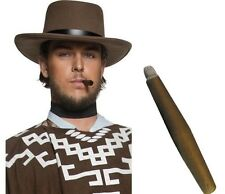 Unisex Brown Cowboy Gunman Hat & Jumbo Cigar Western Clint Eastwood Movie Star