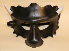Obsidian Dragon Mask Handmade Leather Venetian Masquerade