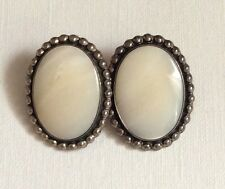 Large Sterling Silver Mother-of-Pearl Earrings
