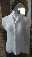 Vtg Blouse Cream semi Sheer COLLAR EMBROIDERY  Topics California Sleeveless sz M