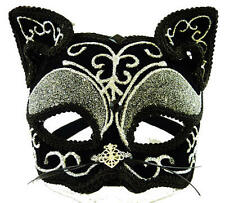 Deluxe Black Cat Mask Halloween Fancy Dress