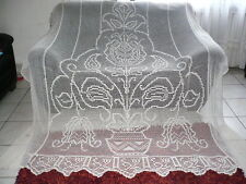 Antique Handmade Crochet LACE CURTAIN 'Tree of Life'