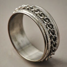 Handsome Men's White Stainless Steel link Band Promise Love Band Ring Size 9