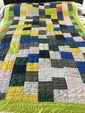 CHARTREUSE BLUE YELLOW BRIGHT SOLIDS & CALICOS HANDMADE PATCHWORK VINTAGE QUILT