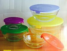 Set di 5 ciotole vetro di dimensioni diverse con coperchi a colori