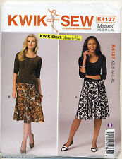 KWIK SEW SEWING PATTERN 4137 MISSES SZ 8-22 EASY PULL-ON FLARED & A-LINE SKIRTS