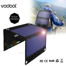VODOOL Foldable Portable Dual USB Solar Panel Power Cell Module Hiking Charger
