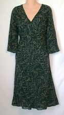NINE WEST Bias Cut Silk Dark Green Patterned Lined Longer Dress Miss SZ 8