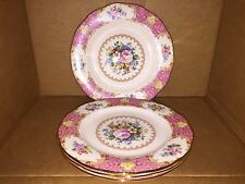 ROYAL ALBERT LADY CARLYLE SALAD PLATE SET of 4 PINK FLOWER BOUQUET GOLD RIMS