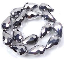 15  Czech Firepolish Glass Faceted Teardrop Beads - Metallic Silver