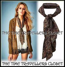 BNWT Topshop Kate Moss Brown Green Red Yellow Paisley Print Chiffon Scarf RP£45