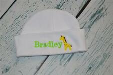 PERSONALIZED Baby Hat - Monogram w/ Name & Giraffe Embroidered Infant Beanie Cap