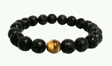 MEN MAN GUY BLACK LAVA TIGERS EYE BEAD JEWELRY WRIST ARM BAND BRACELET HIPSTER