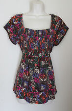 TOMMY HILFIGER SS Multicolor Floral Print Top Size M Hippie Boho Ruched Bodice