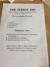 R2 Ephemera 1988 Advert Burgh Le Marsh The Fleece Inn Kennedy