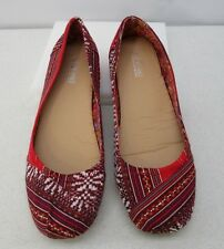 SHOES OF SOUL BRAND WOMENS RED PRINT FABRIC BALLET FLATS CASUAL SHOES US SZ 10