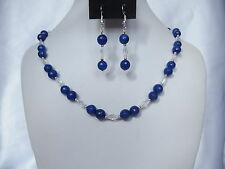 Faceted Dark Blue Gemstone and Crystal AB Bead Necklace, Bracelet and Earrings